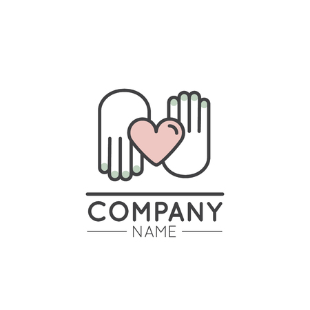 Vector Icon Style Illustration Logo for Nonprofit Organizations and Donation Centre. Fundraising Symbols, Crowdfunding and Charity Project Label