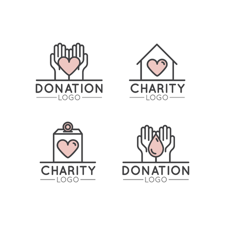 Icon Style Illustration Logo Set for Nonprofit Organizations and Donation Centre. Fundraising Symbols, Crowdfunding and Charity Project Label