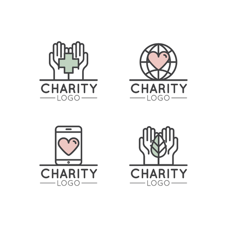 Vector Icon Style Illustration Logo Set for Nonprofit Organizations and Donation Centre. Fundraising Symbols, Crowdfunding and Charity Project Label Stock fotó - 72389148