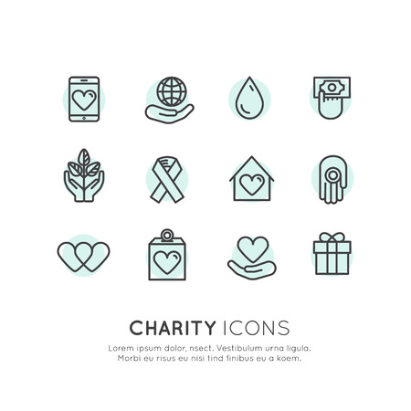 Illustration Icon Set of Graphic Elements for Nonprofit Organizations and Donation Centre. Fundraising Symbols. Crowdfunding Project Label. Charity Logo. Illusztráció