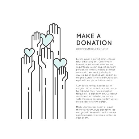 Vector Icon Style Illustration Card or Poster Template with Charity and Fundraising Objects. Volunteer Poster. Rising Hands for Help, Funsraising Event Brochure Template