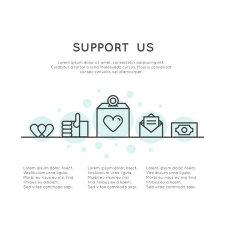 Vector Icon Style Illustration Banner Template for Web Site with Donation Button and Support Slogan, Donate for Project and Developers, Send Money to Help