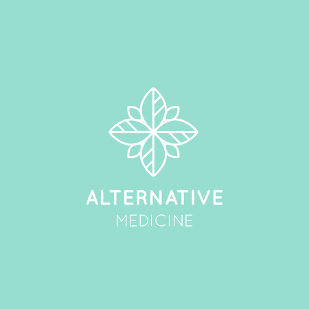 apothecary: Vector Icon Style Logo Sign of  Alternative Medicine. Vitamin Therapy, Anti-Aging, Wellness, Ayurveda, Chinese Medicine. Holistic centre. Green Energy Mandala