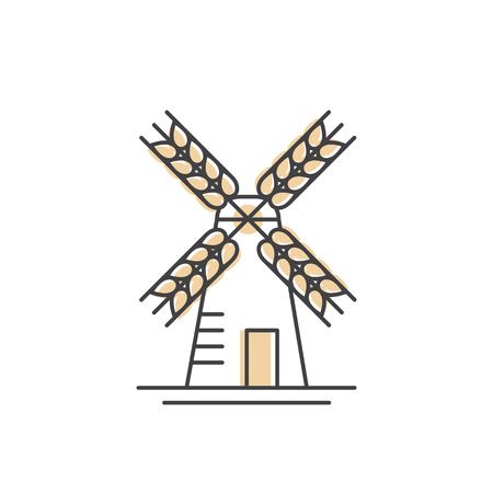 Vector Icon Style Illustration Concept Logo of Bakery, Mill, Bread Product, Store or Market, Isolated Symbols for Web and Mobile Illusztráció