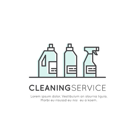 Vector Icon Style Illustration Concept Logo of Cleaning Service, Plumbing, Dishwashing, Household Company, Isolated Symbols for Web and Mobile Stock fotó - 72206982