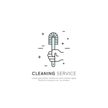 Vector Icon Style Illustration Concept Logo of Cleaning Service, Plumbing, Dishwashing, Household Company, Isolated Symbols for Web and Mobile