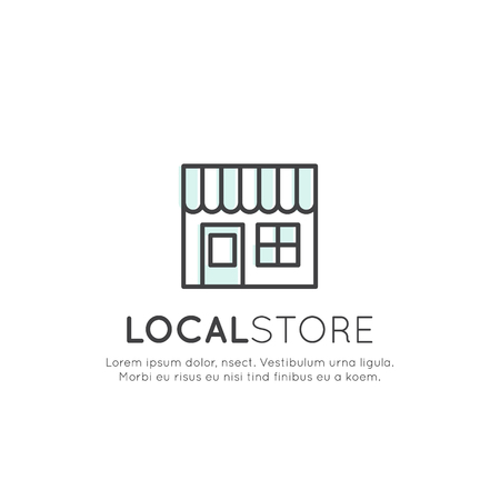Vector Icon Style Illustration Logo Concept of Local Store, Supermaket, Eco Goods Service Company, Isolated Symbols for Web and Mobile