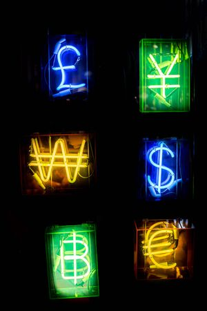 currencies: World Currency led light sign background