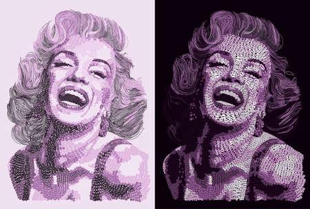 Marilyn Monroe Purple Portraits Illustration