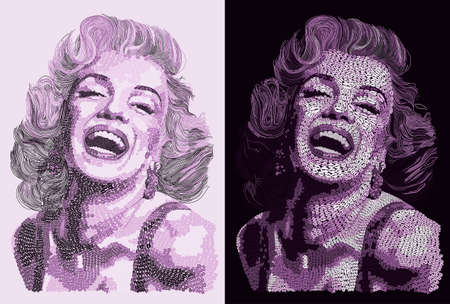 Marilyn Monroe Purple Portraits Illustration