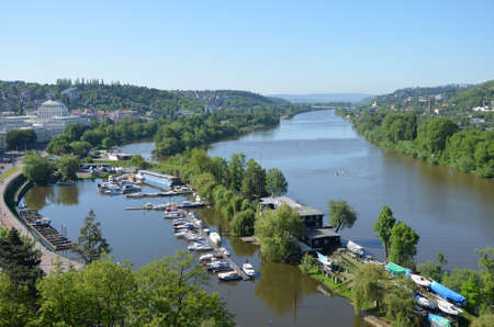 View from the southern tip of Vysehrad fortress on the river Vltava, Prague photo
