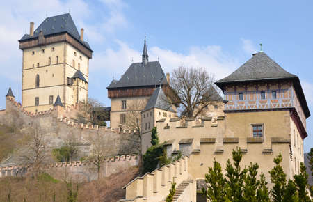 general cultural heritage: View of the castle Karlstejn, Czech republic. Built by Holy Roman Emperor Charles IV. in the 14th century.