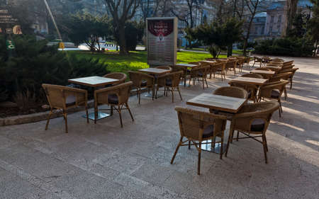 hercegovina: Coffee shop in pedestrian zone in Sarajevo, Bosnia, early in the morning