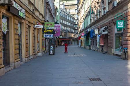 sarajevo: Pedestrian zone in Sarajevo, Bosnia, early in the morning