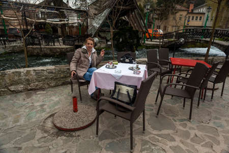 hercegovina: Enjoying traditionally served Bosnian coffee