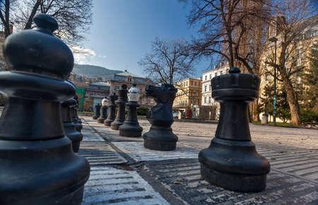 sarajevo: Traditional Oversized Street Chess figures in Sarajevo, Bosnia and Herzegovina. Photo taken 29.3.2015.