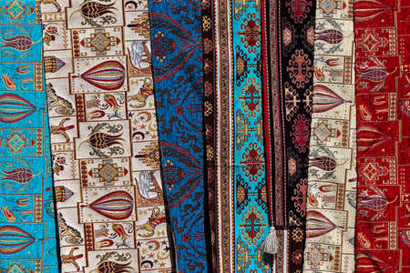 scarves: Colorful shawls and scarves in the market