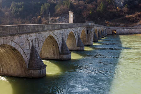old bridge: Old Bridge from the period of the Ottoman Empire over the river Drina in Bosnia and Herzegovina