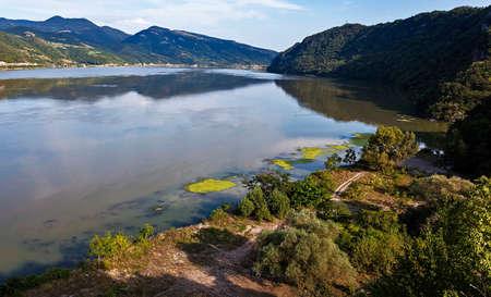 serbia: Danube River between Serbia and Romania Stock Photo