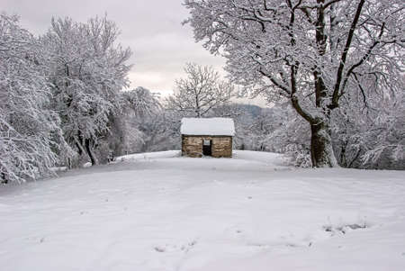 ski lodge: Small shepherds chalet on the banks of the river Danube in Serbia Editorial