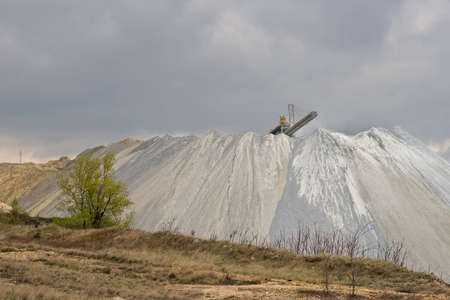 tailings: Tray tailings in the open pit copper mine Stock Photo