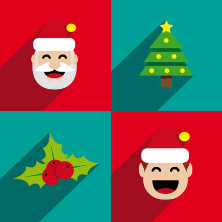 Christmas icons with long shadow Stock Illustratie