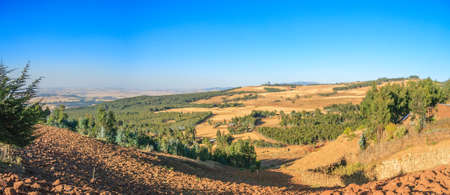 Panaromic view of a valley contryside of Addia Ababa Stock Photo