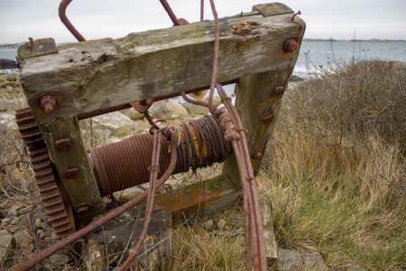old rusty winch for pulling boats out