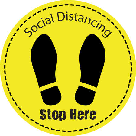 Thanks For Practicing Social Distancing Floor sticker Sign, Social distancing. Footprint sign.