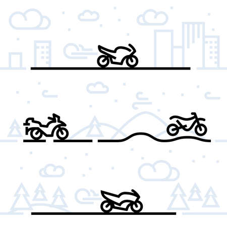 Motorcycle classification icon set and vector illustration. Cruiser, custom, nostalgic (oldies), touring, adventure touring, enduro (off-road), sport, super sport, scooter, maxi scooter, moped and vintage (retro) scooter motorcycle icon set.