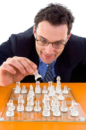 Schachmatt: Chessman spielen Schachmatt auf Glas Bord  Lizenzfreie Bilder