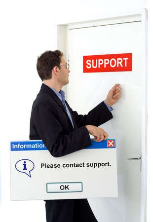 Businessman contacting service holding board with informational support message.