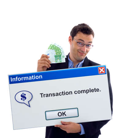 Happy businessman showing transaction complete dialog board photo