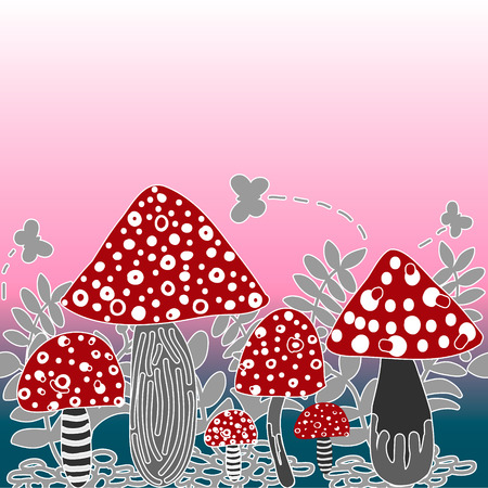 Vector seamless background of amanita mushroom with forest plants on pink colour