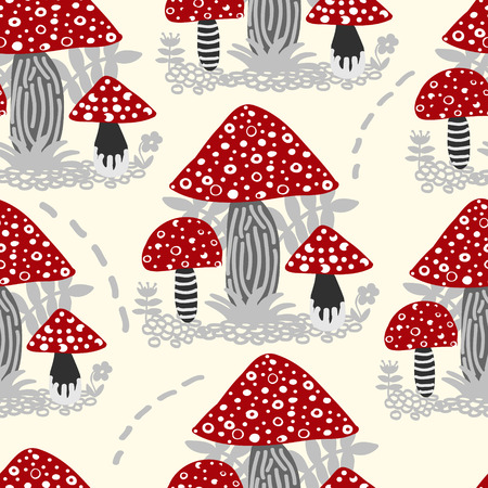 bright colour: Vector seamless background of amanita mushroom with forest plants on bright colour