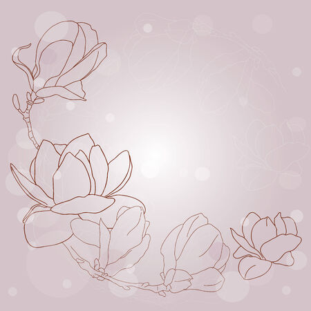 Vintage background with magnolias flowers   Vector