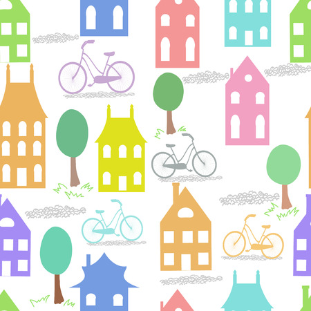 Old Holland cityscape vector seamless background  Colorful dutch houses  Illustration