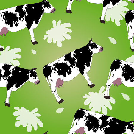 hoofed mammal: cow seamless pattern with white splashes Illustration