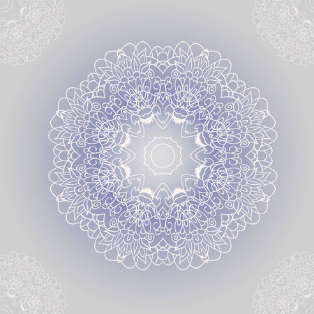 ornamental round lace with damask and arabesque elements.  Vector