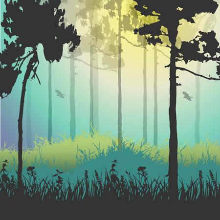 Vector illustration of green forest. Vector