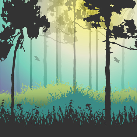 Vector illustration of green forest. Vector
