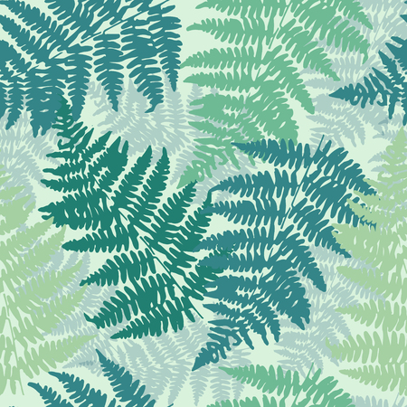 Seamless, repeating fern pattern background. Vector