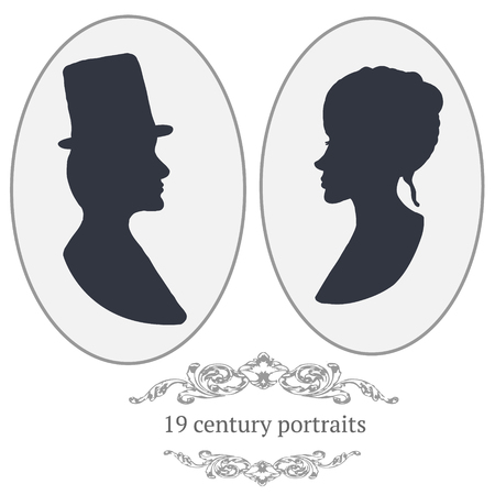 spouses: Vector vintage card portraits with woman and man.