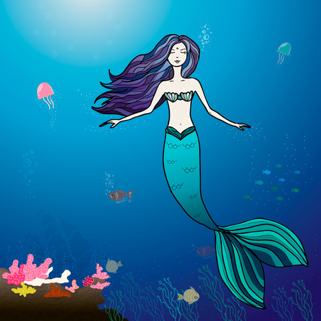 Mermaid and sea  cartoon illustration Vector