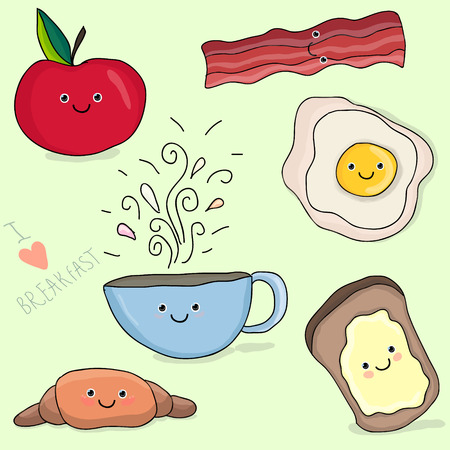 Funny face cartoon breakfast illustration