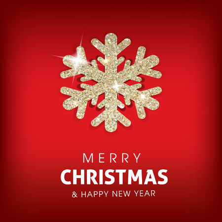 Winter Merry Christmas background with glowing snowflake.Great holiday design for New Year greeting cards, posters and flyers, etc