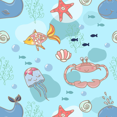 Cartoon marine seamless pattern for design. Vector