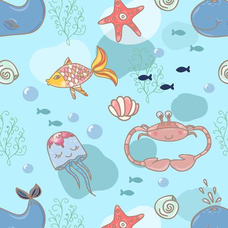 Cartoon marine seamless pattern for design. Vector