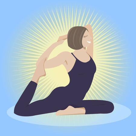 nirvana: Woman doing yoga practice vector.