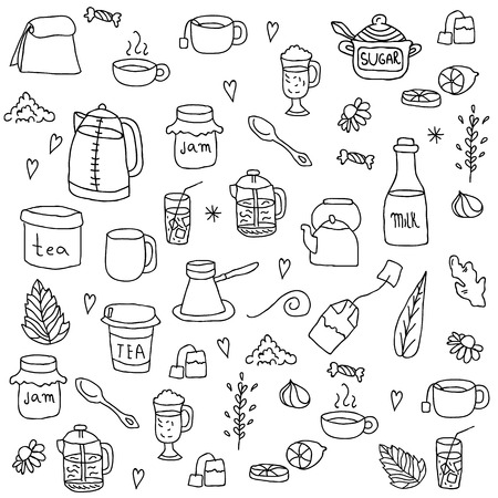 Tea and all stuff - Hand-drawn seamless vector pattern.
